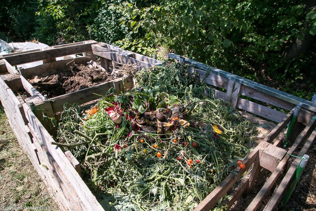 Materia organică din grădină se transformă în compost şi se reîntoarce în straturi, astfel solul este tot mai fertil de la un an la altul.