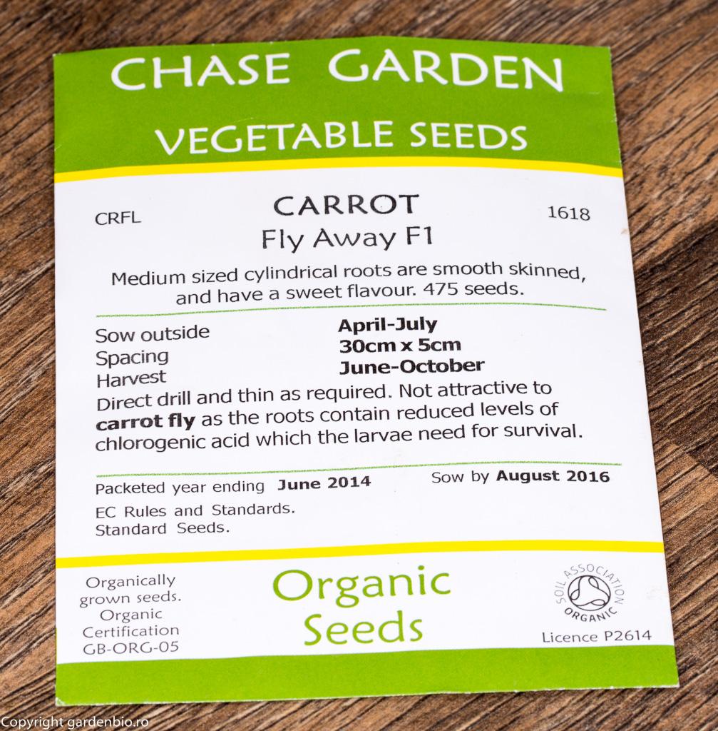 Plic cu seminte organice de morcovi hibrid F1, soiul Fly Away