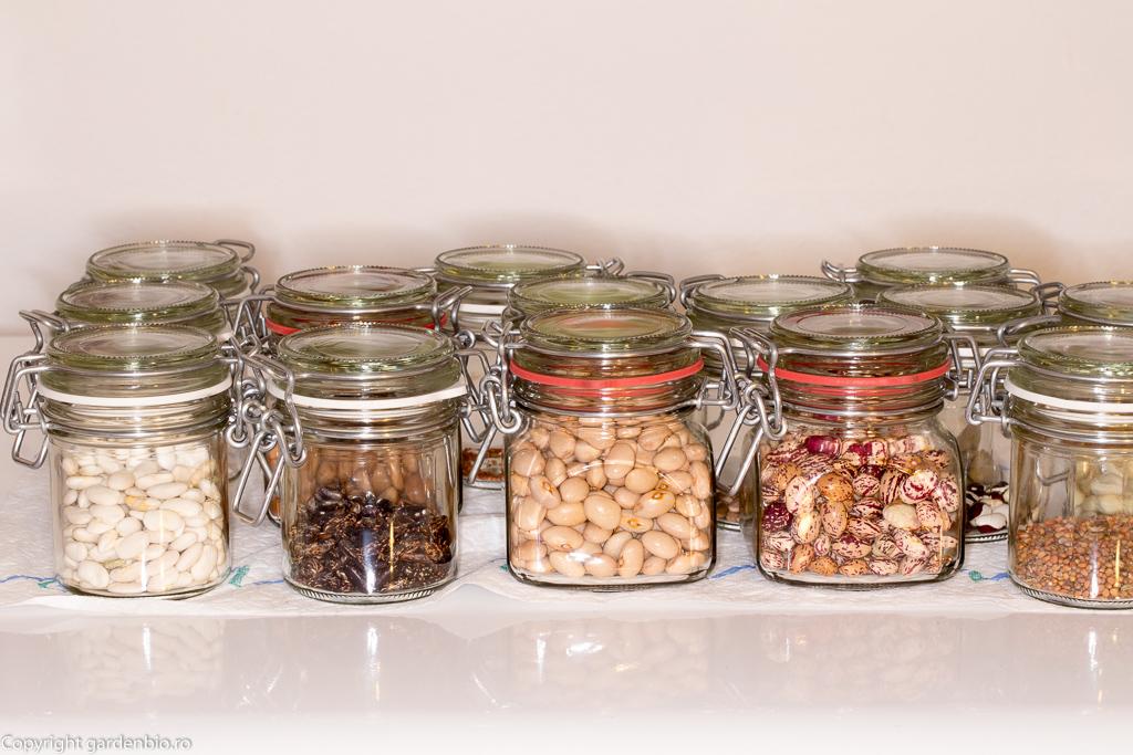 Semințe păstrate în recipiente de sticlă cu capac etanș