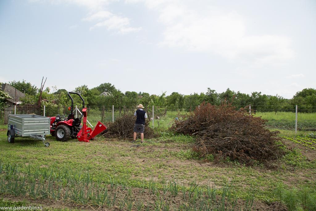 Nimic nu se pierde, totul se transformă :). La tocat de crengi pentru mulcit și materie organică pentru compost.